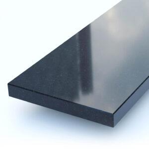 Steenbok Natuursteen Vensterbank Graniet Absolute Black (zwart, gepolijst) Close-up